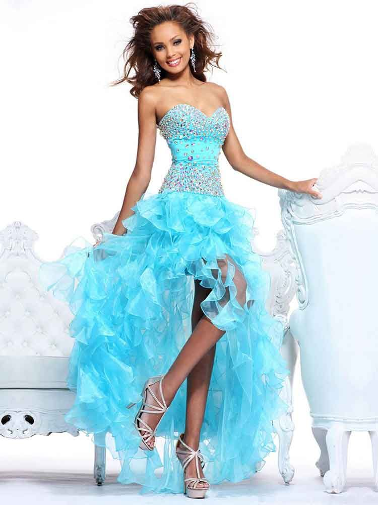 Blue organza prom dress