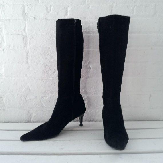 Black Kitten Heel Boots 7.5 Bergdorf Goodman 90s Vintage 80s ...