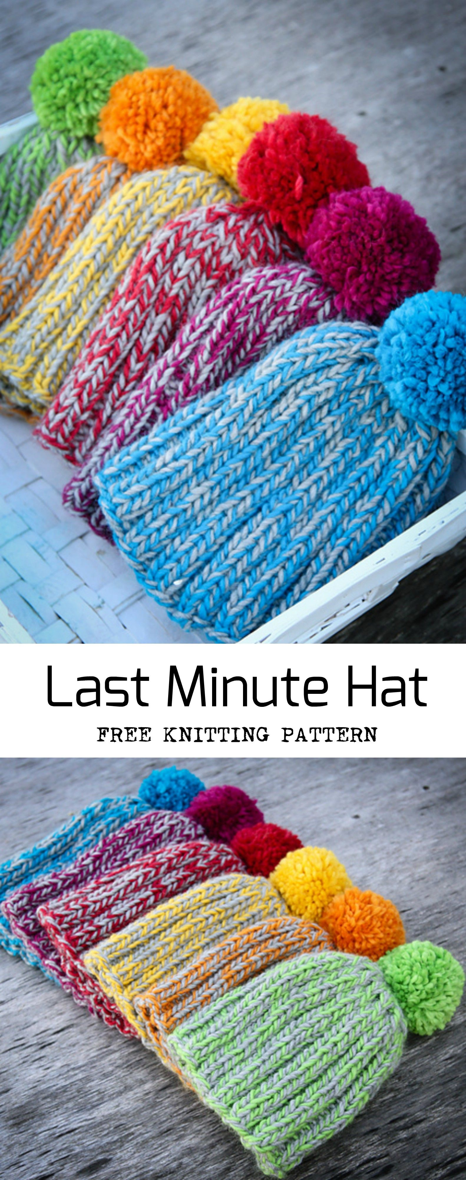 Last Minute Hat Free Knitting Pattern #knittingprojects