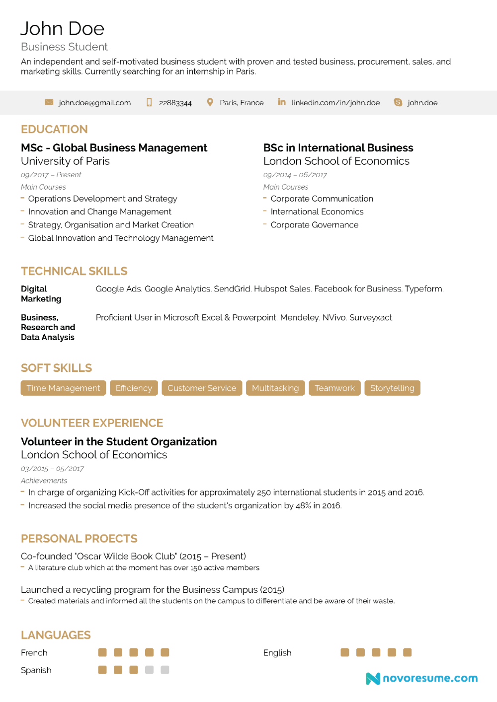 Excellent Resume Examples 2020 Google Search