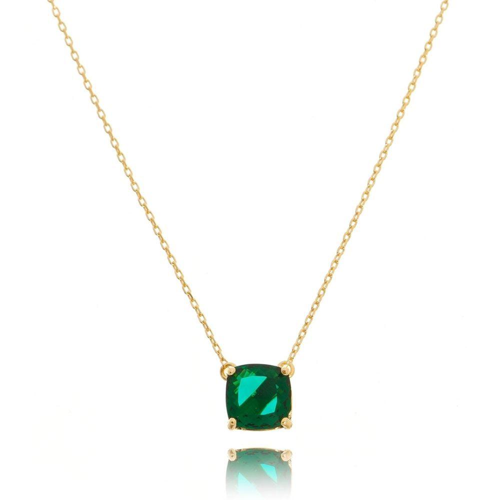 aa12d93b93bf9 Colar pingente esmeralda colombiana banho ouro 18k semijoia - waufen ...