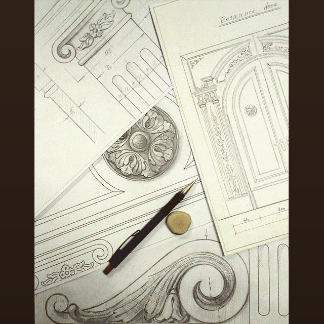 Sketch entrance door details 11 art drawing