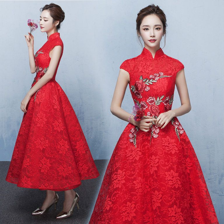 3ce52cca2ad Floral embroidered Aline red lace tea length Chinese wedding dress – Modern  Qipao