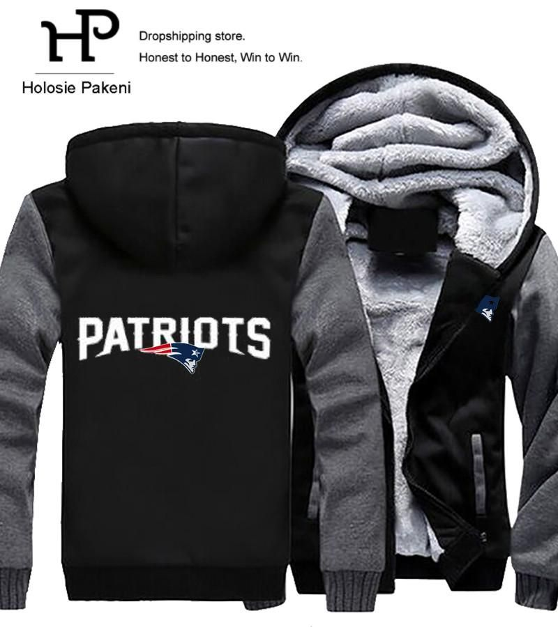414af7aa0a3 Men Women Unisex Patriots Hoodies Zipper Sweatshirts Jacket Winter Warmth  Thicken Fleece Hooded Coat