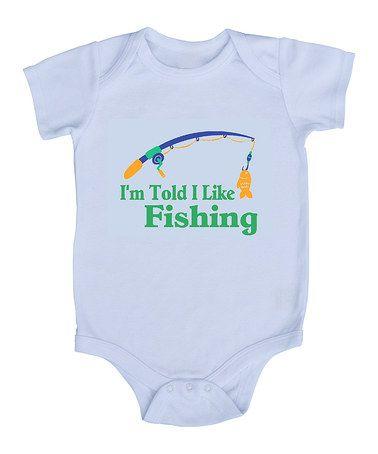 Love this White 'I'm Told I Like Fishing' Bodysuit - Infant by My Lullabug on #zulily! #zulilyfinds