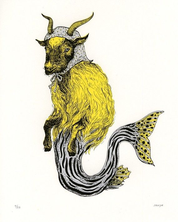 CAPRICORN Sea Goat Screenprint, Limited Ed, hand-printed