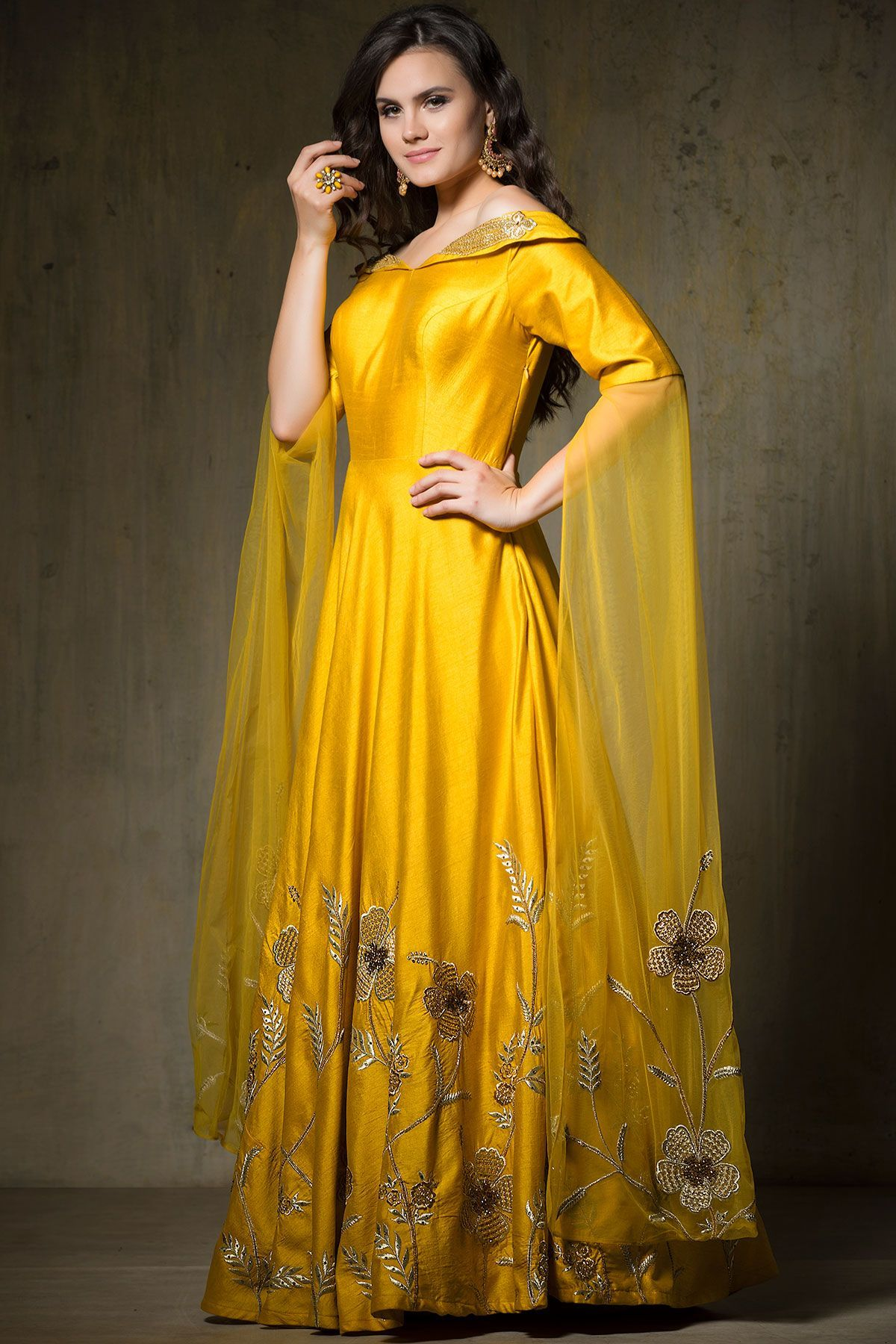 Yellow Zari Embroidered Silk Evening Gown-GW705 | Evening gowns ...