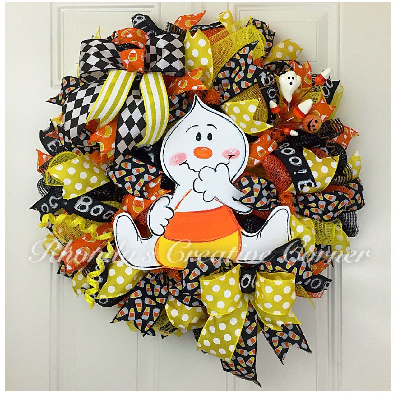 Ghost Halloween Deco Mesh Wreath, Adorable Ghost Wreath, Deco Mesh Ghost Wreath…