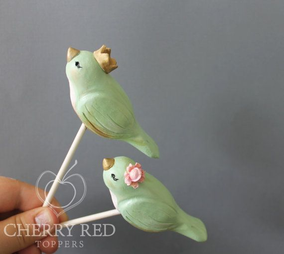 Mint Green Lovebirds with Crowns - Custom Birds Wedding Cake Toppers on Etsy, $60.00