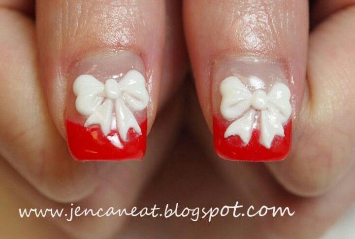 Red french tip with bows! Maybe for Christmas ♥