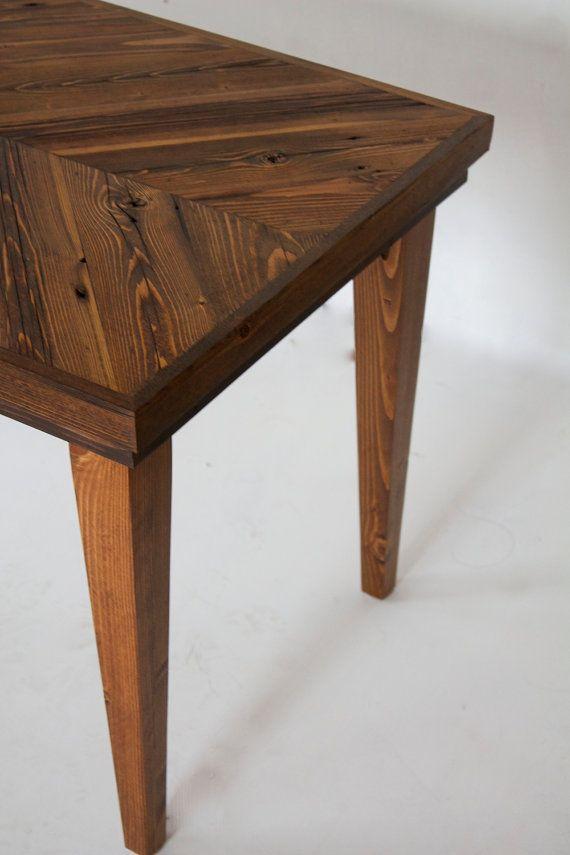 Table Basse 40 X 19 X 19 Recupere Chevron Bois Par Hurdandhoney
