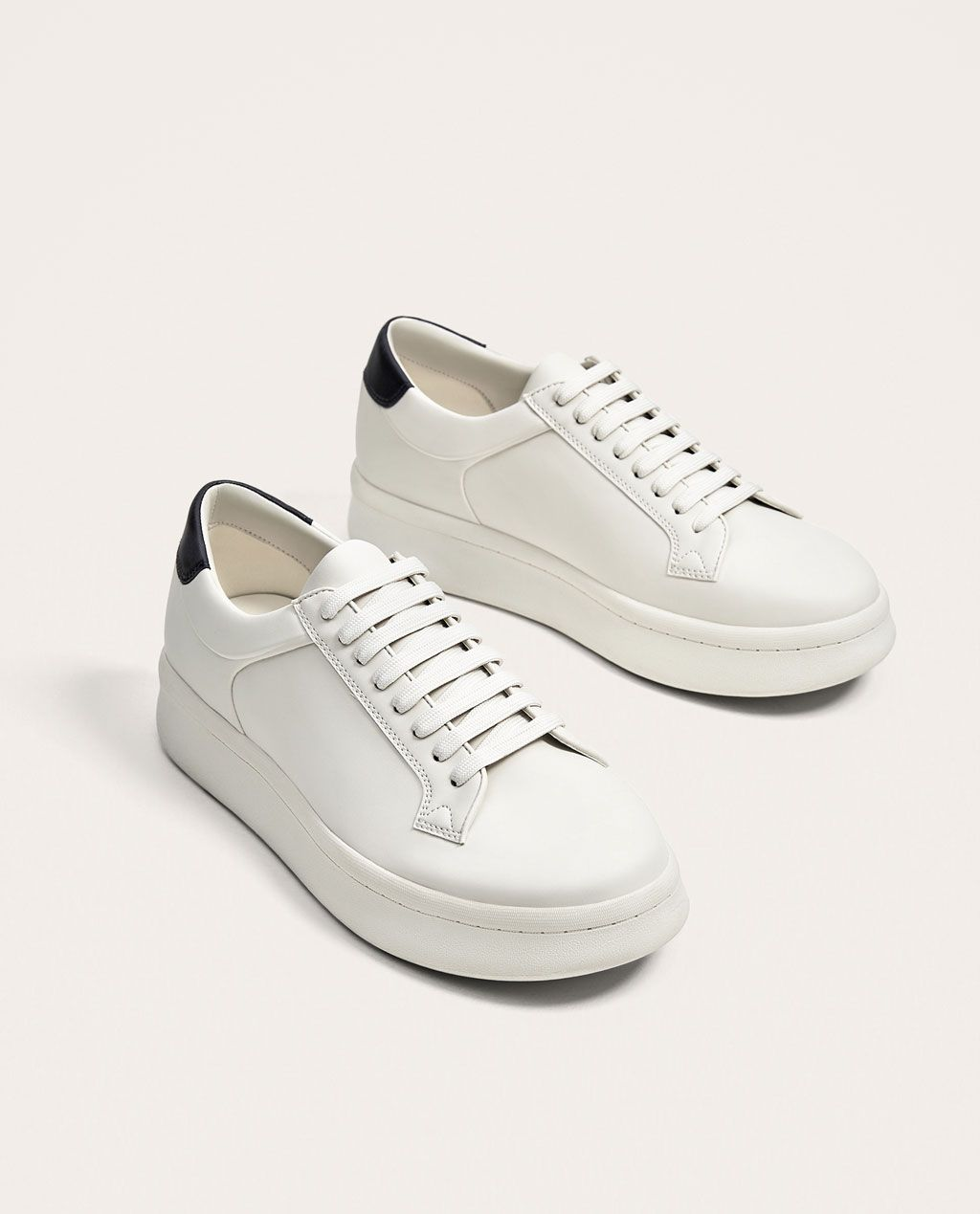 e61417e59e5d Image 1 of CLASSIC WHITE PLATFORM SNEAKERS from Zara. Find this Pin and  more on MENS SHOES ...