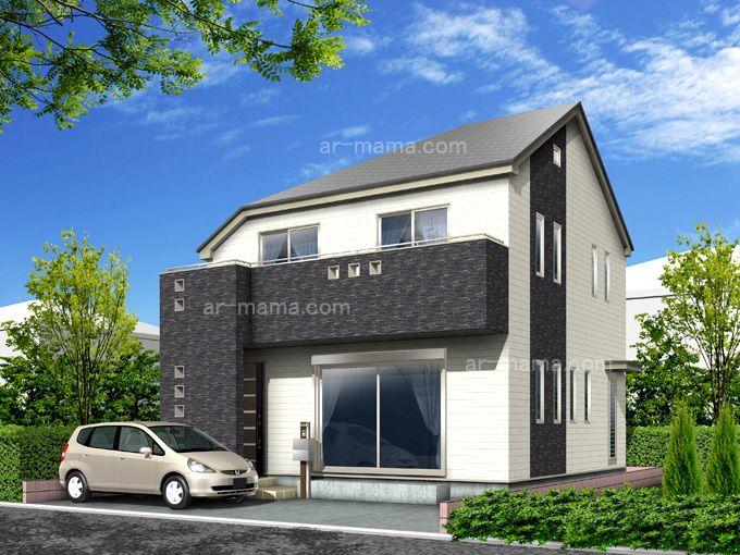 戸建住宅外観パース作品例24 建築パース アーキテクトママ 住宅