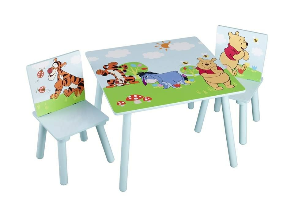 Kindertisch Mit 2 Stuhlen Aus Holz Motiv Winnie Pooh Und Seine