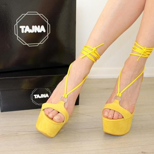 976349a6b04 Lace Up Round Toe Yellow Suede High Heel Platforms