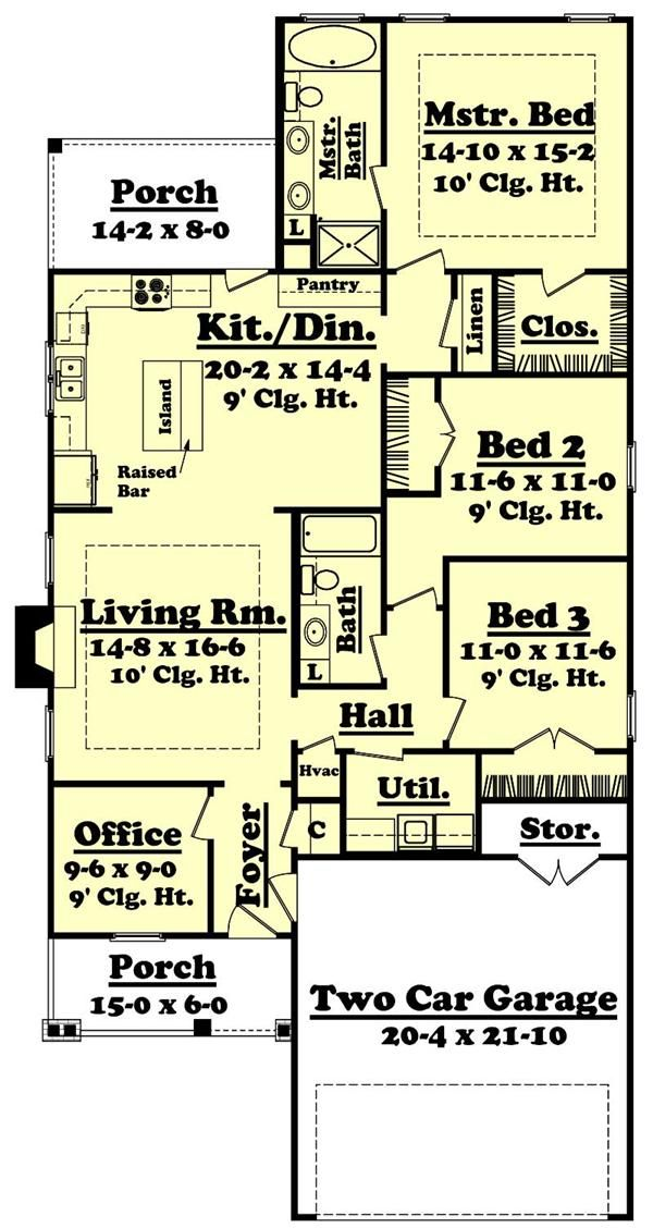 Eplans Shed House Plan   Compact For A Narrow Lot   1018 Square Feet And 3  Bedrooms From Eplans   House Plan Code HWEPL06040 | Small Homes | Pinterest  ...