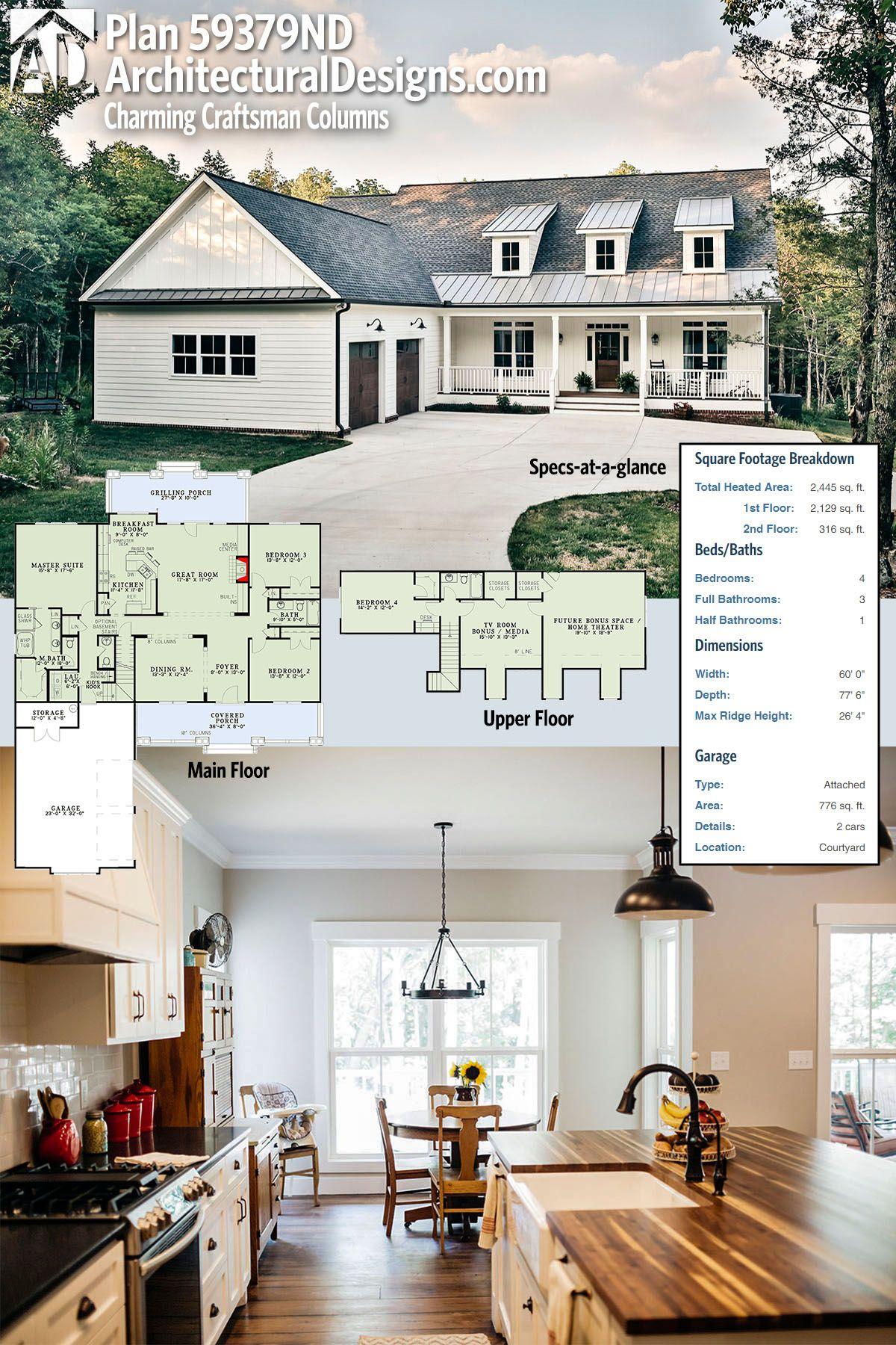 Plan 59379ND Charming Craftsman Columns Plan 59379ND