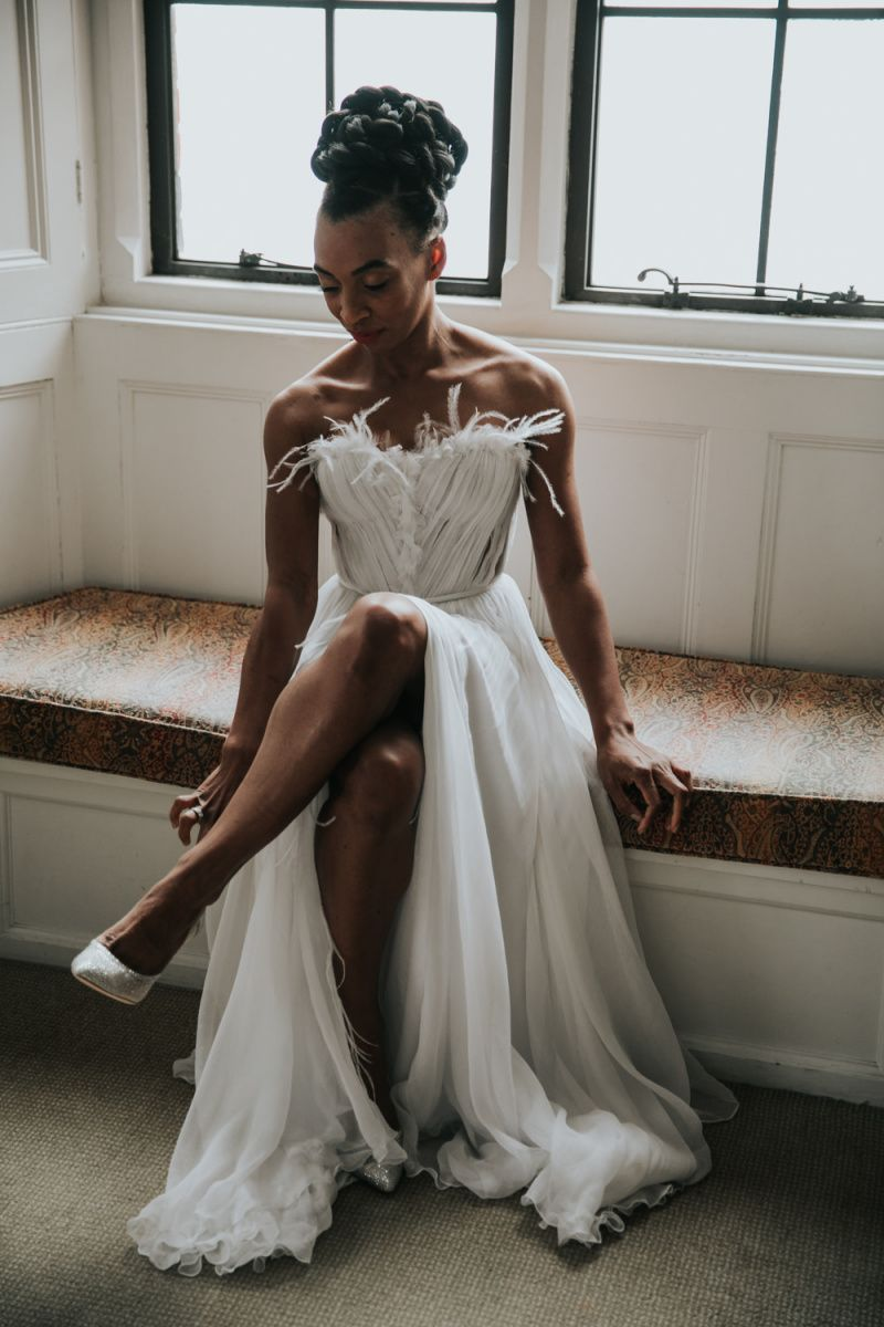 The Elvetham Wedding Venue In Hampshire With Feather Bridal Gown In 2020 Wedding Dress With Feathers Mermaid Bride Dresses Bride Dress Simple