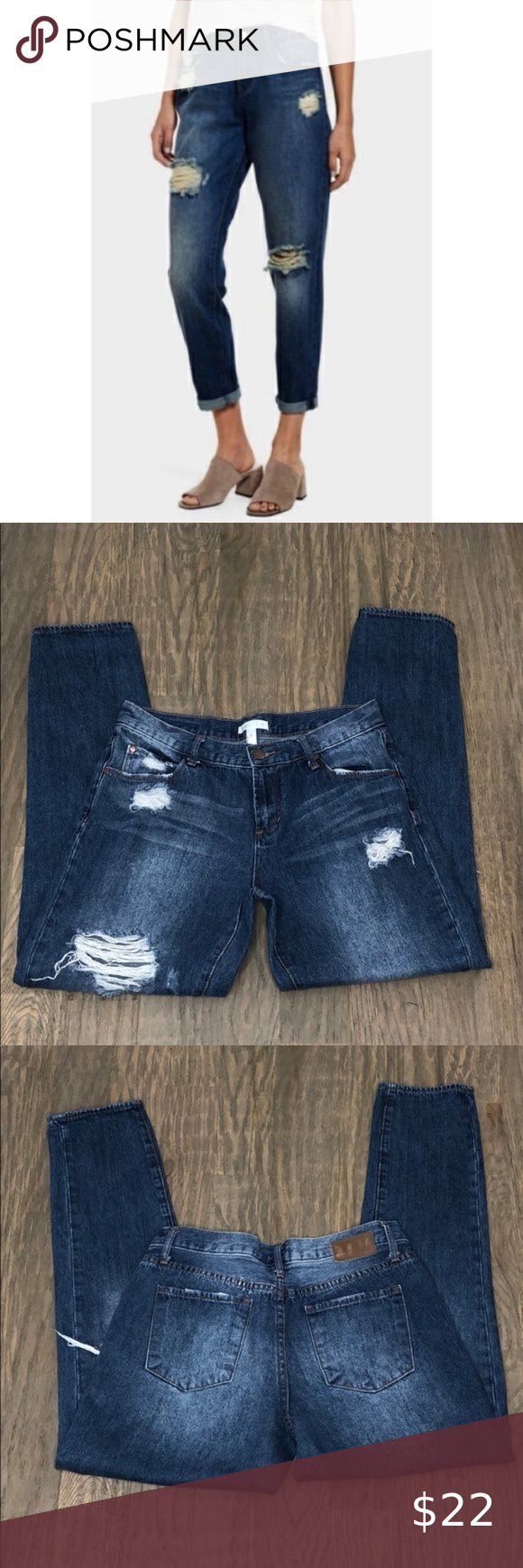 Leith Ripped High Waist Boyfriend Jeans 25 Leith Ripped High Waist Boyfriend Jeans  Size: 25 Cut with a high waist and cropped May be worn cuffed at hem Shredded patches to complete the vintage-inspired look.  27