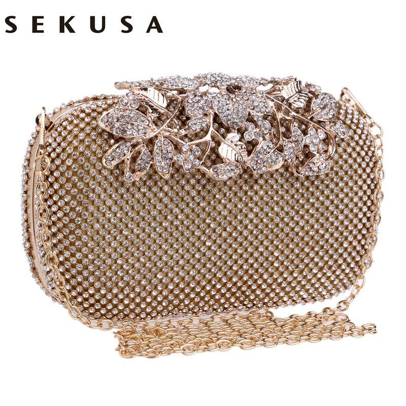 bff3758b43 SEKUSA Flower Crystal Evening Bag Clutch Bags Clutches Wedding Purse ...