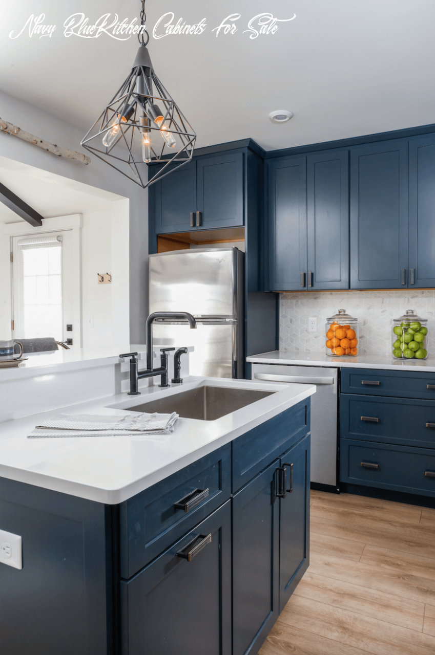Navy Blue Kitchen Cabinets For Sale In 2020 Navy Blue Kitchen Cabinets Small Kitchen Renovations Blue Kitchen Designs
