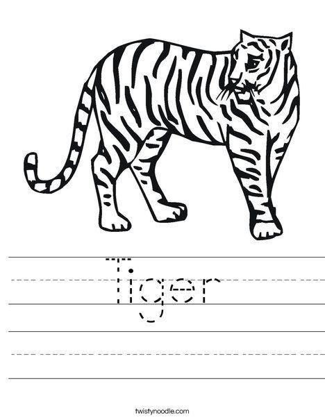 Tiger Worksheet D 39 Nealian Twisty