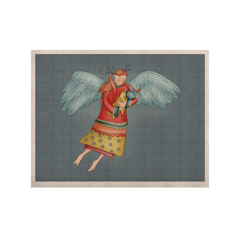 """Carina Povarchik """"Guardian Angel"""" Blue Multicolor KESS Naturals Canvas (Frame not Included)"""