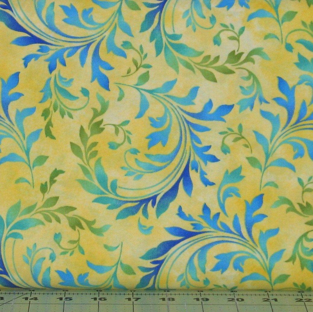 Blue Aqua Green Flourish On Mottled Bright Yellow Cotton Quilt