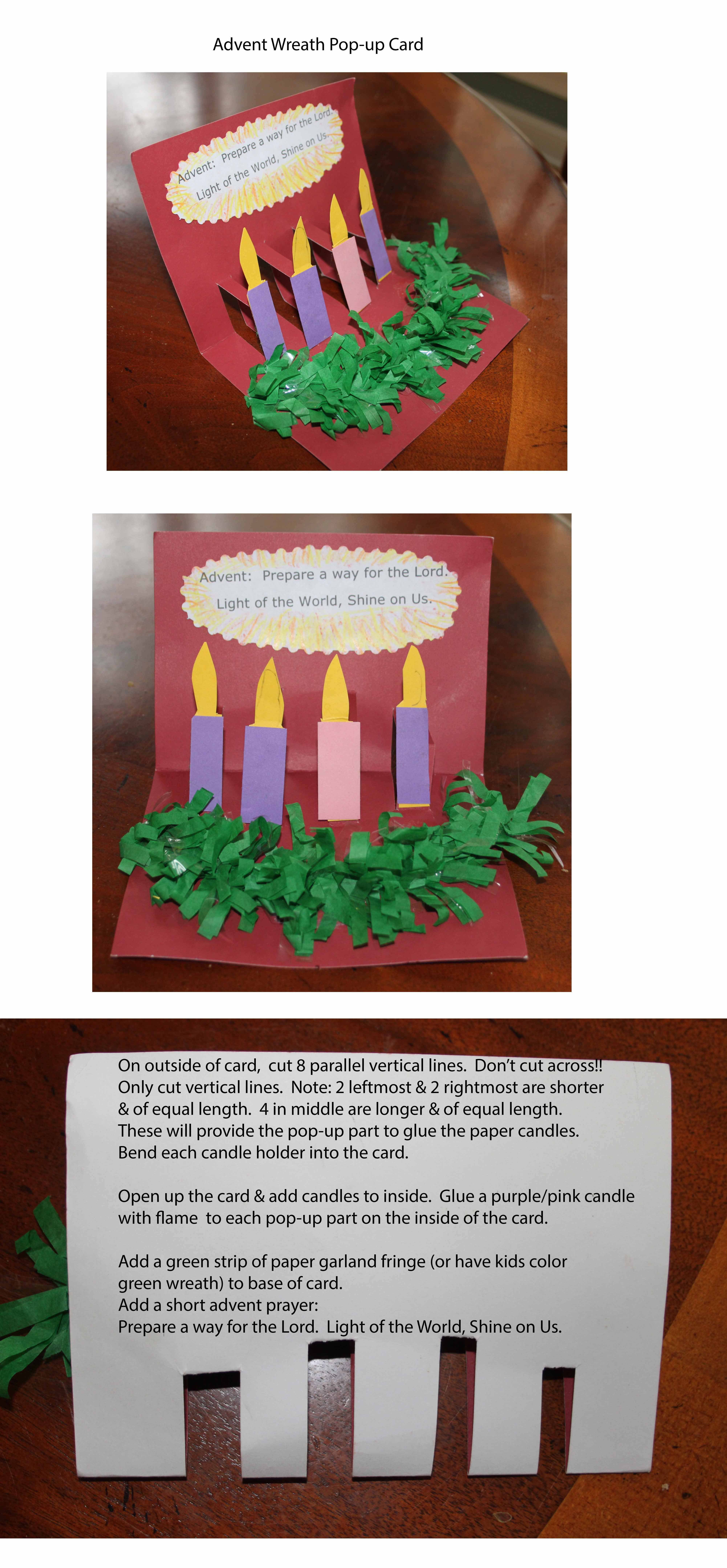 Advent Wreath Pop Up Card Kids Can Make Paper Advent Wreath Card