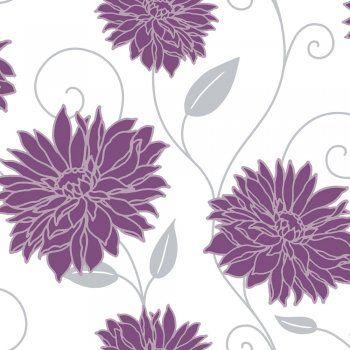 Purple flower wallpaper wallpaper pinterest flower for Purple and silver wallpaper