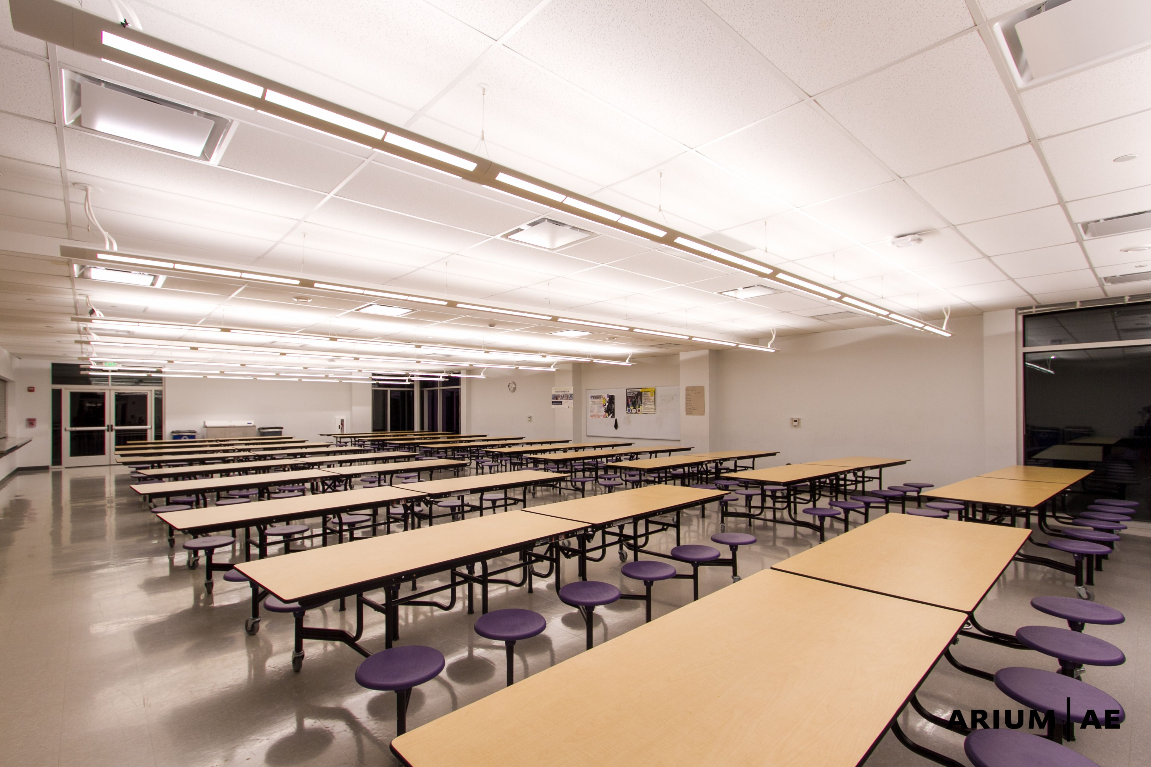 High school cafeteria, storefront, lighting, seating