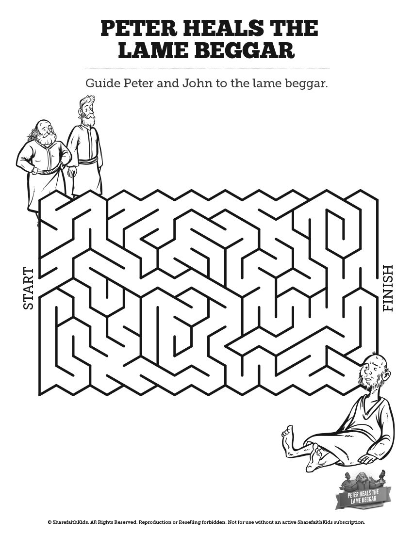 Acts 3 Peter Heals The Lame Man Bible Mazes Kids Sunday School
