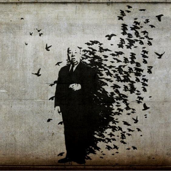 Banksy, street art masterpiece. Alfred Hitchcock, The Birds. #banksyart