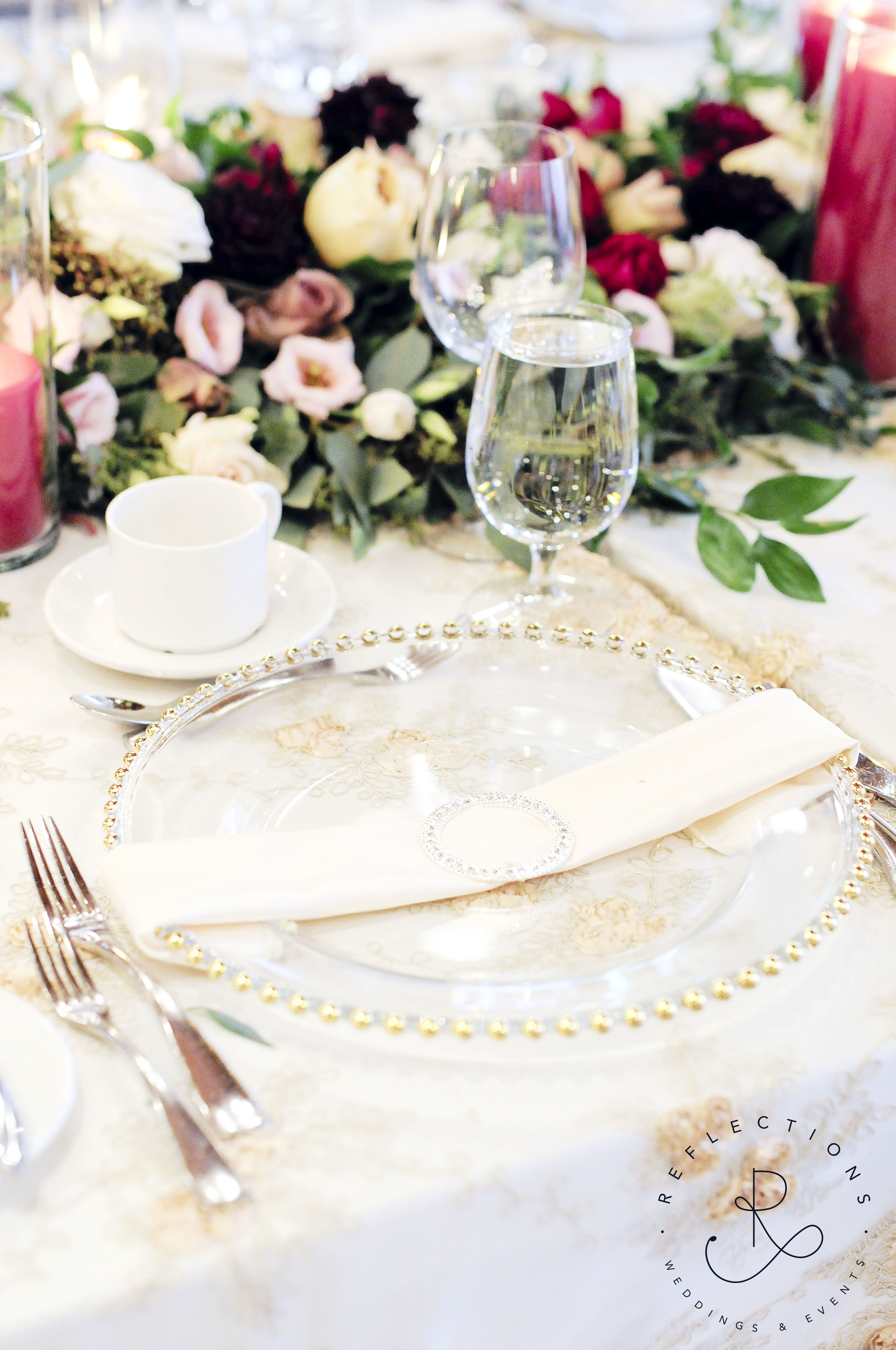 Blush, ivory, gold, and burgundy head table decor. Floral garland ...