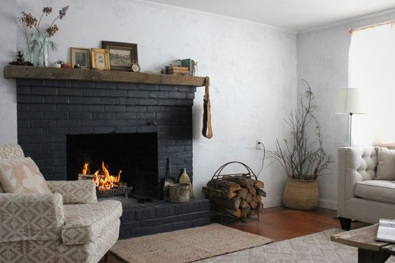 Weekend Upstate Black Brick Fireplace Painted Brick Fireplace
