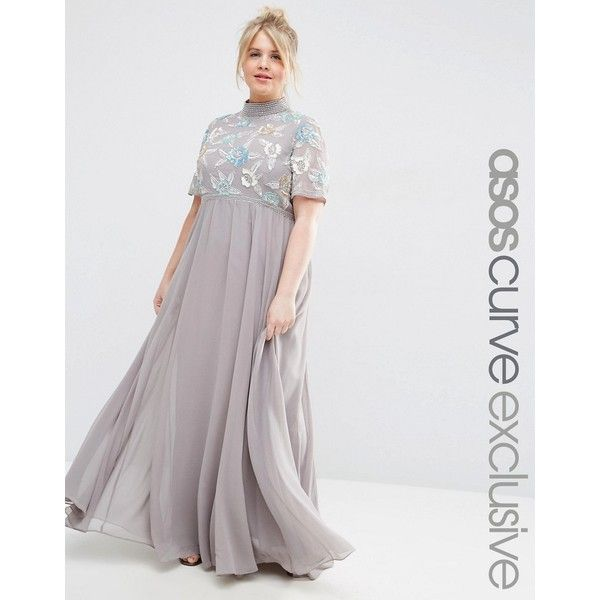 ASOS CURVE High Neck Embellished Maxi Dress ($140) ❤ liked on ...