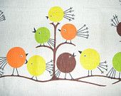 Vintage happy bird fabric.