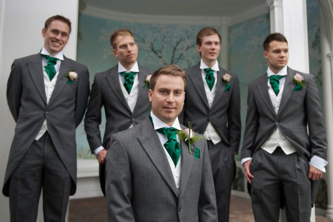 Groom In Black And Groomsmen Gray Bridesmaid Emerald