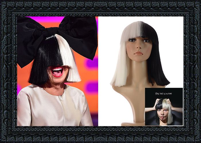 Romance XL Sia Inspired Black White Bob Wig