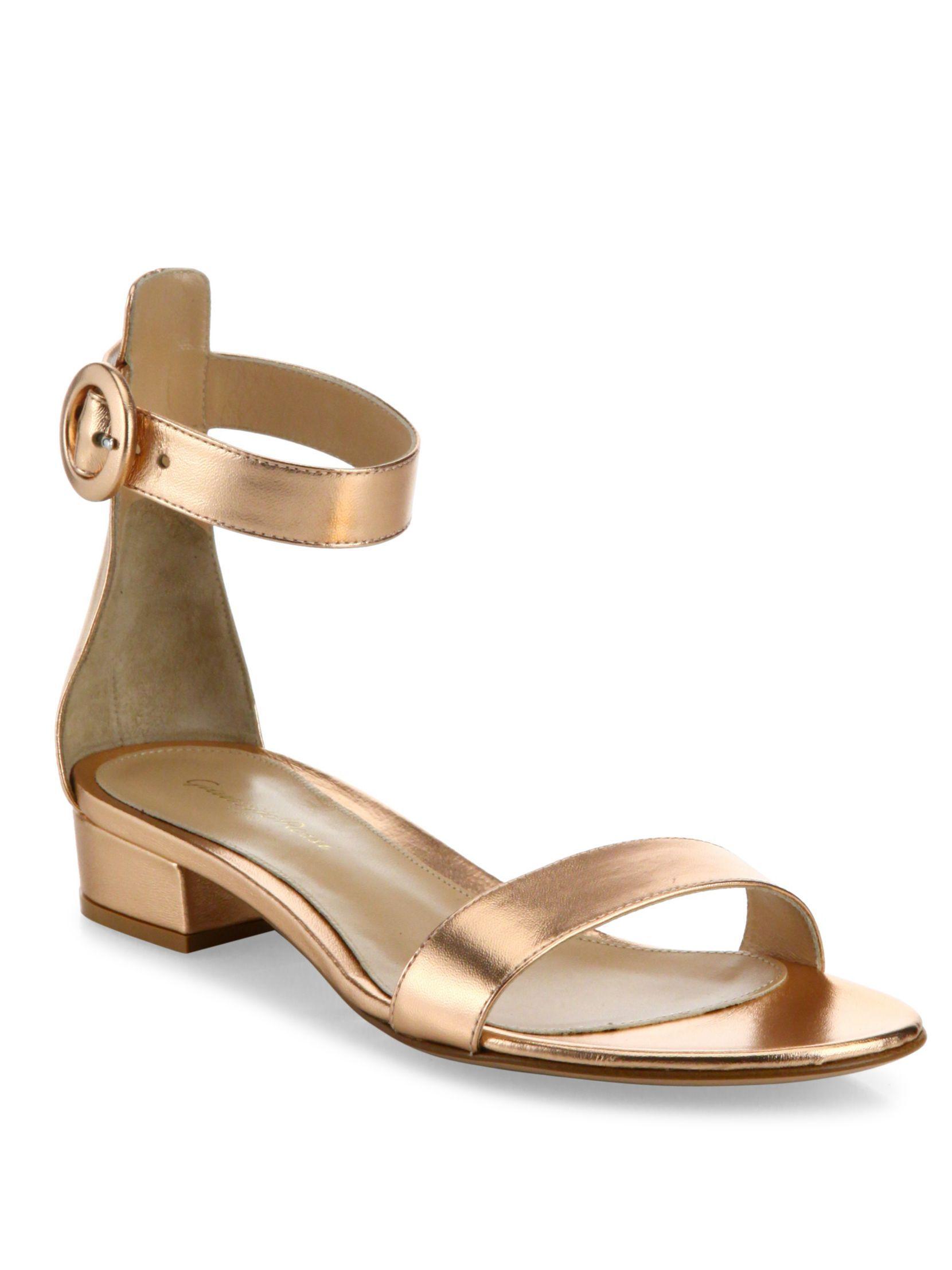 2642c616dca Gianvito Rossi Metallic Leather Ankle-Strap Sandals