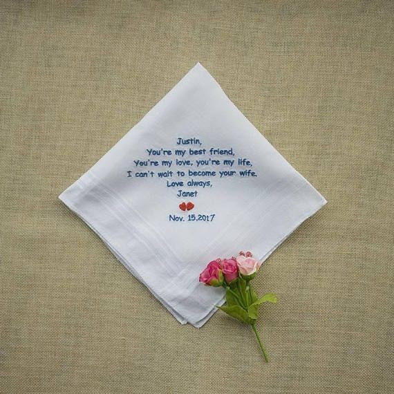 Fiance Gift, Personalized Embroidery Handkerchief, Wedding
