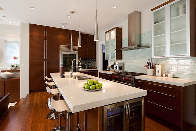 Dream Kitchen - frosted cabinets, wine fridge, glass front ...