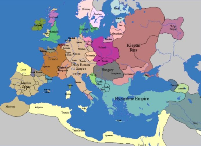 dark ages map of europe Map of Europe in the Middle Ages | Europe map, Historical maps, Map