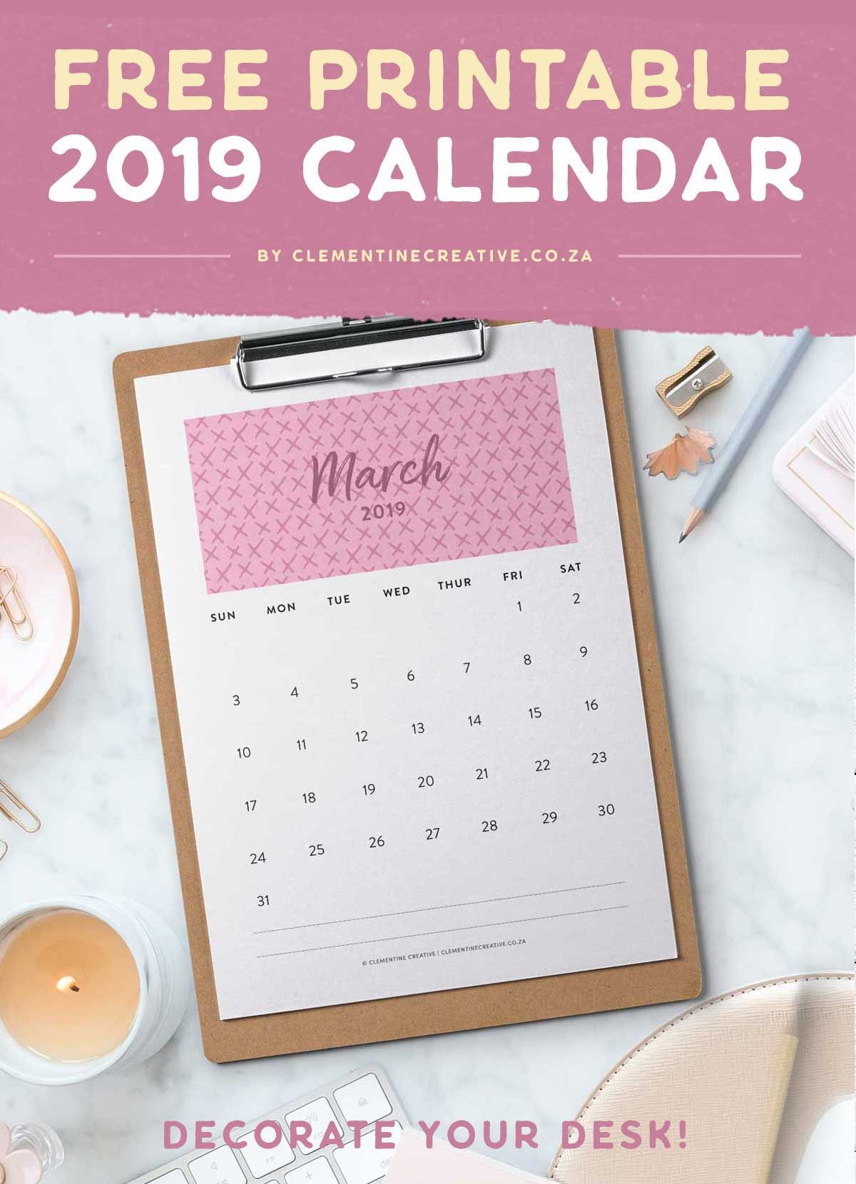 free printable 2019 wall calendar by clementine creative click here
