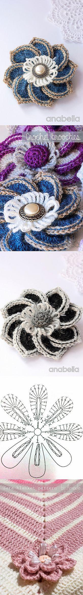 flores tejidas | Flores | Pinterest | Flores tejidas, Flores y Broches