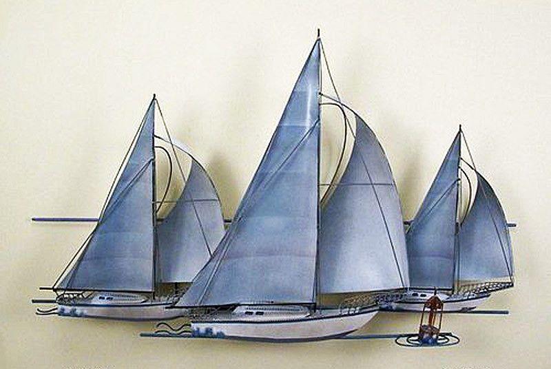 Wall art trio of sailboats metal sculpture nautical decor also rh pinterest