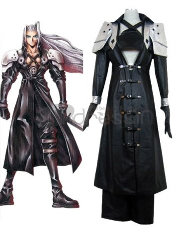 Final Fantasy XI fans are going to love this authentic Sephiroth costume. It features a long trench coat with buckle embellishments down the center, long sleeves and crossing straps at the chest. A separate shoulder piece is worn for the plates and armor shown in the series. A pair of gloves and wide legged trousers worn underneath complete the ensemble and are included. A very authentic costume, perfect for a convention, costume party or other event.