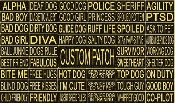 Personalized Removable Patch Label Tag W Yellow Letters For Dog