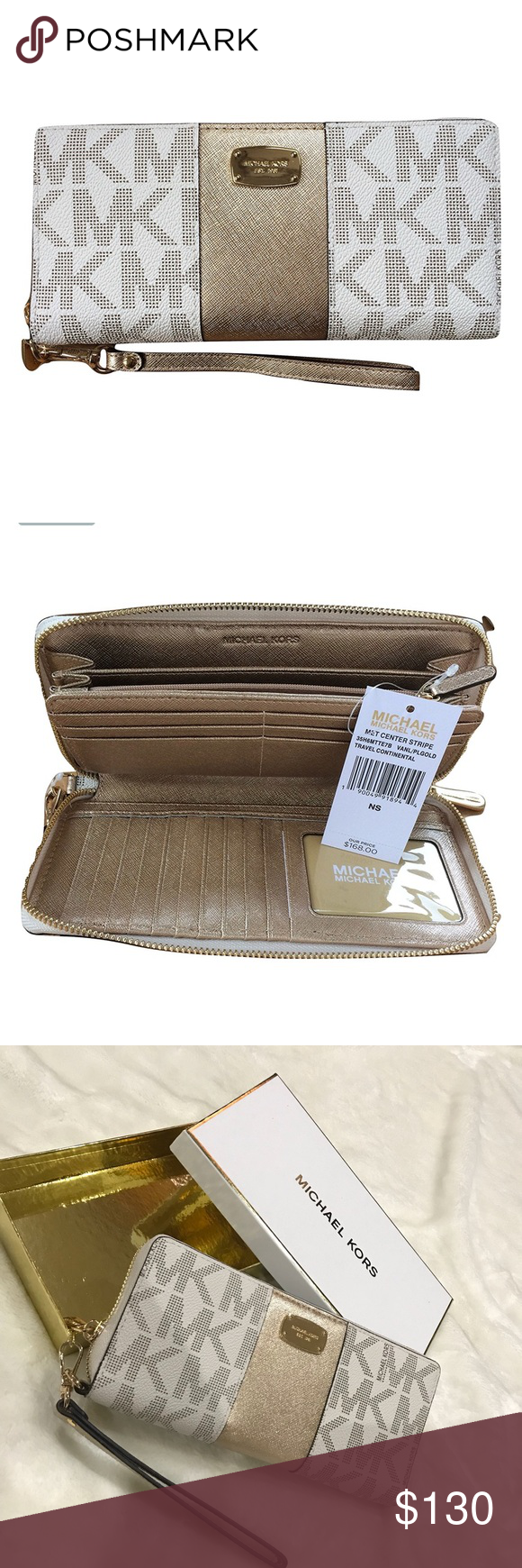 98387514118a34 🌟HP🌟🆕Michael Kors met center stripe wallet NWT Michael Kors met center  stripe zip around. -Travel continental wallet wrapped in vanilla monogram  print ...