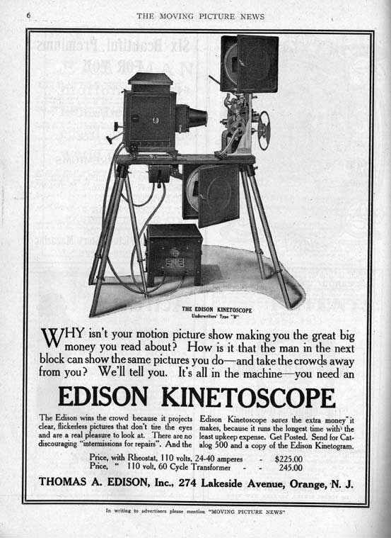 Image result for 1891 –The first public display of Thomas Edison's prototype kinetoscope.